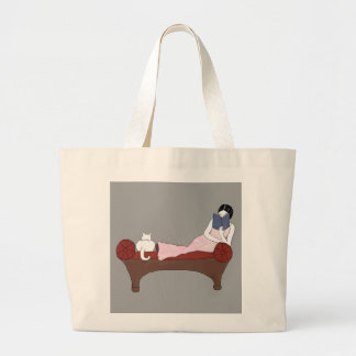A Lady, A Cat and A Very Good Book Tote Bag