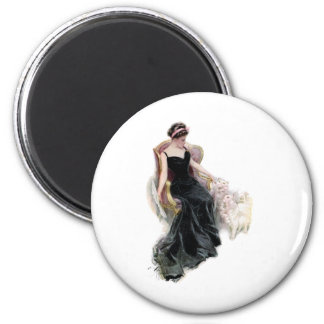 A Lady and Her Cats 6 Cm Round Magnet