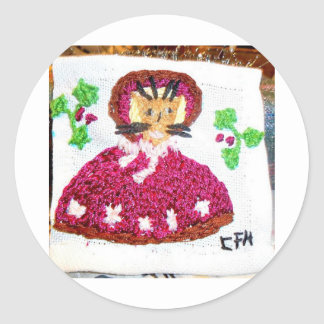 A Lady Cat on a Christmas Visit Round Sticker