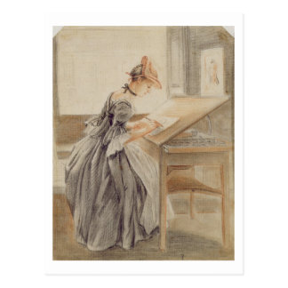 A Lady Copying at a Drawing Table, c.1760-70 (grap Postcard