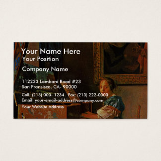 A Lady Seated At A Virginal,  By Vermeer Van Delft Business Card
