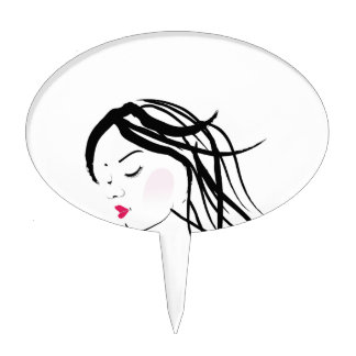 A lady with dreadlocks- dreadlock fashion graphic cake pick