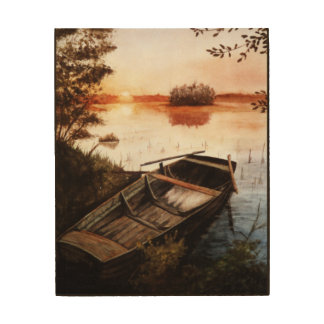 A Lake at Sunset Wood Canvases