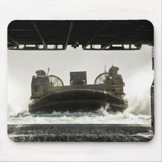 A landing craft air cushion prepares to enter mouse pads