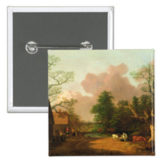 A Landscape with Figures, Farm Buildings and a Mil 15 Cm Square Badge