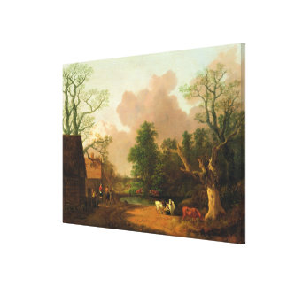 A Landscape with Figures, Farm Buildings and a Mil Canvas Print