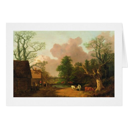 A Landscape with Figures, Farm Buildings and a Mil Card