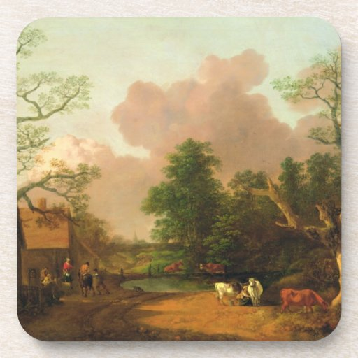 A Landscape with Figures, Farm Buildings and a Mil Beverage Coaster
