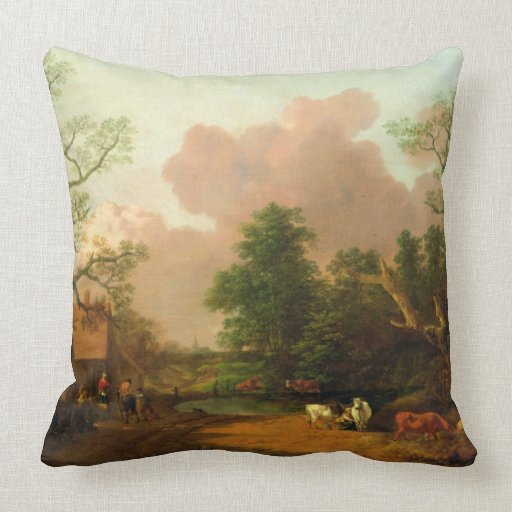 A Landscape with Figures, Farm Buildings and a Mil Throw Pillow