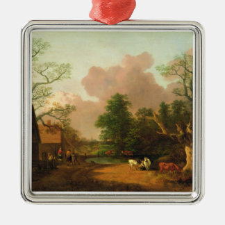 A Landscape with Figures, Farm Buildings and a Mil Ornaments