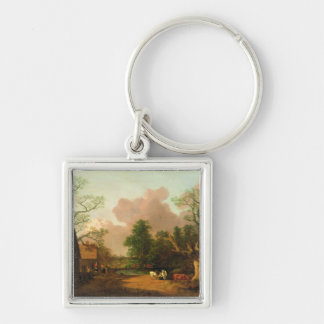 A Landscape with Figures, Farm Buildings and a Mil Key Chain