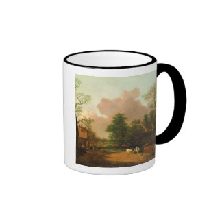 A Landscape with Figures Farm Buildings and a Mil Coffee Mug