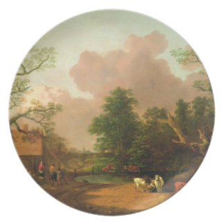 A Landscape with Figures, Farm Buildings and a Mil Plate