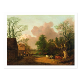 A Landscape with Figures, Farm Buildings and a Mil Postcard