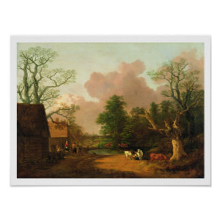 A Landscape with Figures Farm Buildings and a Mil Print