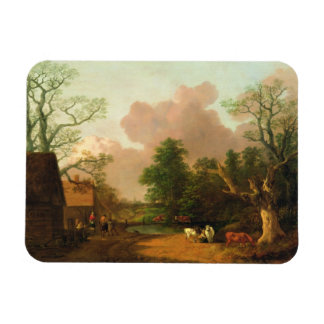 A Landscape with Figures Farm Buildings and a Mil Vinyl Magnets