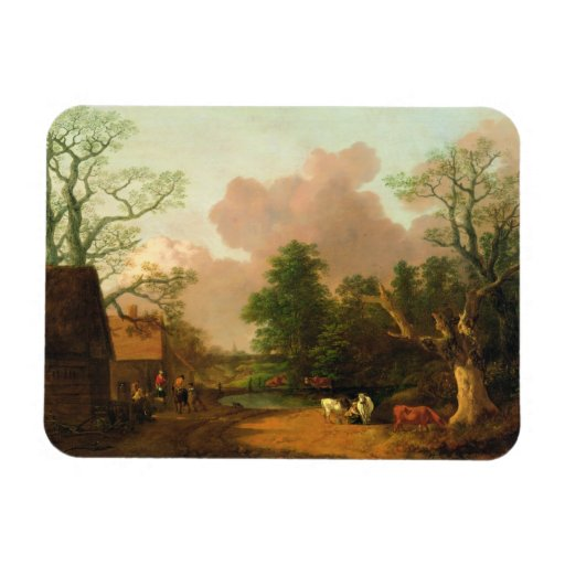 A Landscape with Figures, Farm Buildings and a Mil Vinyl Magnets
