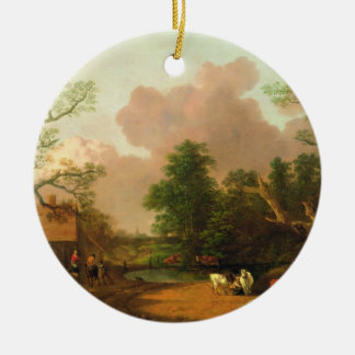 A Landscape with Figures, Farm Buildings and a Mil Round Ceramic Decoration