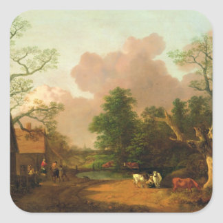 A Landscape with Figures Farm Buildings and a Mil Stickers