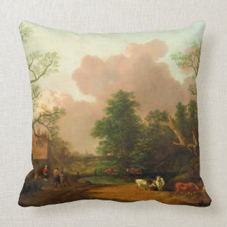 A Landscape with Figures, Farm Buildings and a Mil Throw Cushions