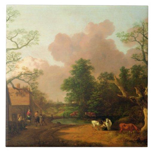 A Landscape with Figures, Farm Buildings and a Mil Ceramic Tile