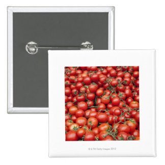 A large crop of tomato on a market stall in 15 cm square badge