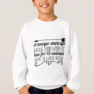 A lawyer starts life giving $500 worth of law for sweatshirt