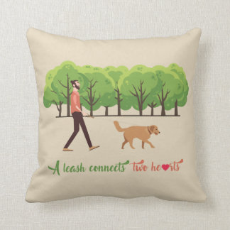 A leash connects two hearts Throw Pillow