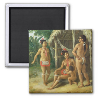 A Leeward Islands Carib Family outside a Hut, c.17 Square Magnet