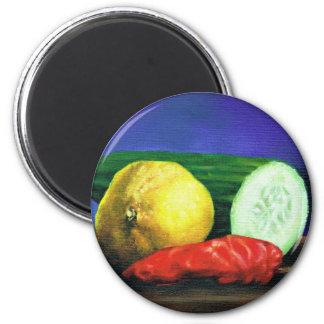 A Lemon and a Cucumber Magnet
