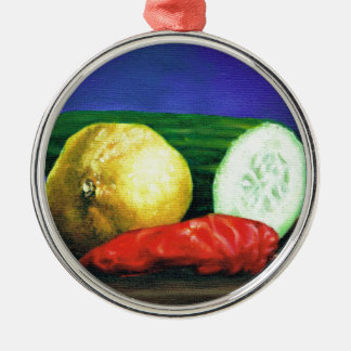 A Lemon and a Cucumber Metal Ornament