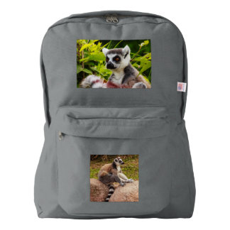 a lemur of madagascar on american apparel backpack