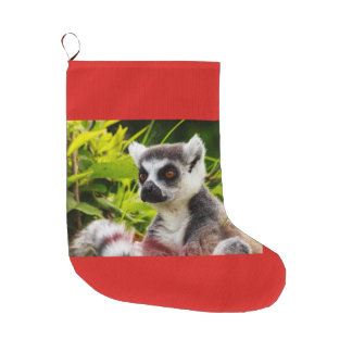 a lemur of madagascar on Christmas Stocking