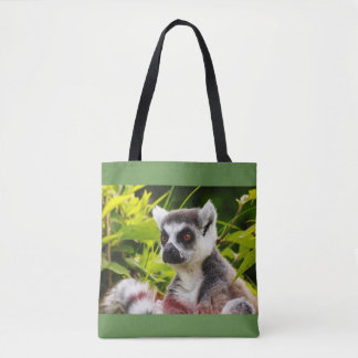 a lemur of madagascar on tote bag