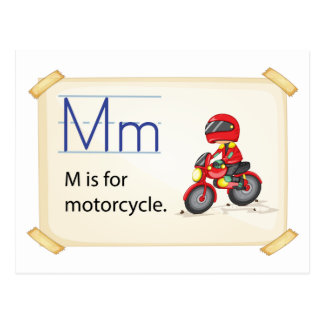 A letter M for motorcycle Postcard