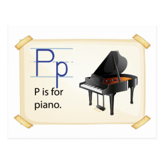 A letter P for piano Postcard
