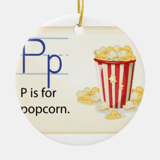A letter P for popcorn Ceramic Ornament