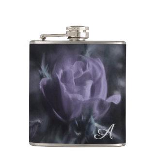 A Light Colored Purple Rose Flower Hip Flask