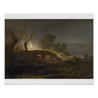 A Lime Kiln at Coalbrookdale, c.1797 (oil on panel Posters