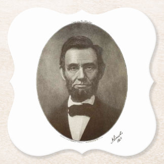 a lincoln 1864 signature oval portrait 2000 sv paper coaster