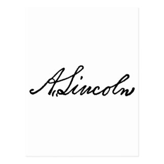 A Lincoln signature Postcard