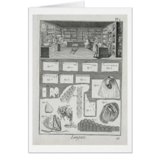 A lingerie maker's workshop and material, from the card