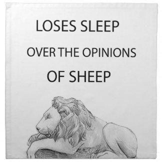 A lion  never napkin