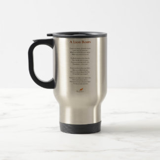 A Lion Roars Poem Travel Mug