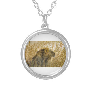 A Lion Waits, Zimbabwe Africa Silver Plated Necklace