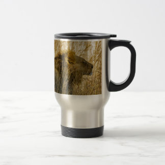 A Lion Waits, Zimbabwe Africa Travel Mug