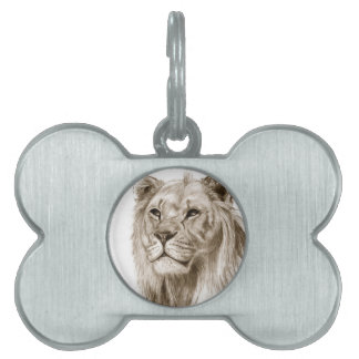 A Lion - Without Pride Drawing Sketch Art Pet ID Tags