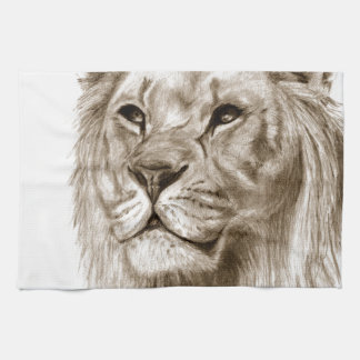 A Lion - Without Pride Drawing Sketch Art Tea Towel