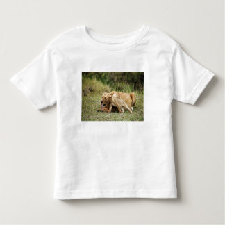 A lioness and her playful cub tee shirts