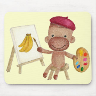 A Little Artist Socky the Sock Monkey Mousepad